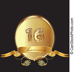 16th anniversary birthday seal in gold design with bow icon...