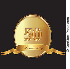 50th anniversary birthday seal in gold design with bow icon...