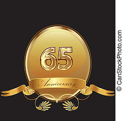 65th anniversary birthday seal in gold design with bow icon...