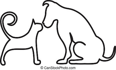 Dog and cat kissing logo