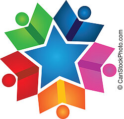 Books colorful teamwork stars logo - Books colorful teamwork...