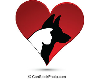 Dog cat and heart logo - Dog (German shepherd) and cat...