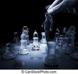 hombre de negocios, tablero de ajedrez, vacío