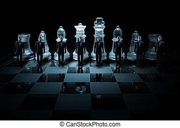 vidrio, ajedrez, tabla, -, hombre de negocios, Campesinos,...