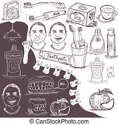 hand drawn dental care set