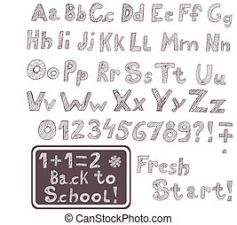 hand drawn font - Original hand drawn font as vector image