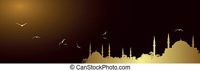 Vector golden mosque