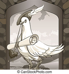 Dove messenger - Illustration with dove sitting on a castle...