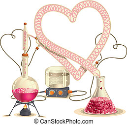 Love Chemistry - Vector Illustratio - Vector drawing of a...