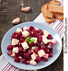 Beetroot salad with feta and olive oil