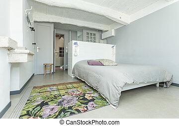 rustico, interno, bianco, camera letto