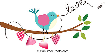 Cute Love Bird on Branch Tree - Scalable vectorial image...
