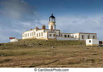 Neist Point Lighthouse, Skye - The lighthouse and cottages,...
