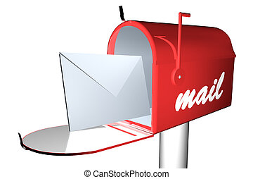 Mail box - Red mail box with white envelope, 3d render