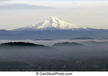 Mount Hood with Low Fog in the Valley - Mount Hood with Low...