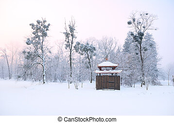 Oriental arbour covered in deep snow and tall trees with...