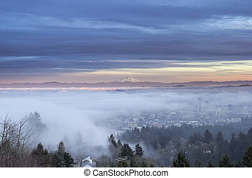 Portland City Covered in Fog with Mount Hood - Portland...