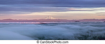 Portland City Covered in Fog with Mt Hood Panorama -...