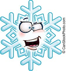 Snowflake Head - AHA - Cartoon illustration of a snowflake...