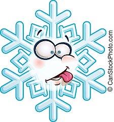 Snowflake, cabeça, -, língua