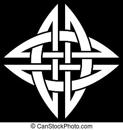 Celtic Quaternary knot isolated on black background
