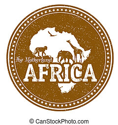 Africa stamp - Vintage stamp with wild animals and map of...