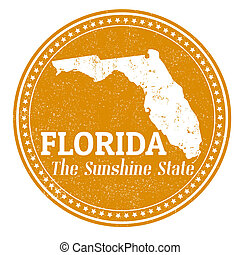 Florida stamp - Vintage stamp with text The Sunshine State...
