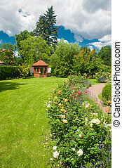 Garden with roses - Beautiful garden with blooming roses and...