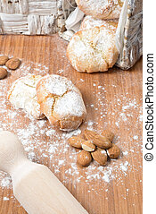almond paste - Almond cookies with the powdered sugar on it....