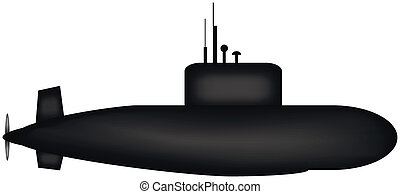 Military submarine on white background.