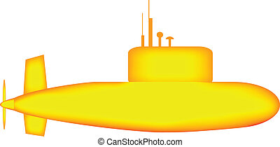 Yellow submarine on white background.