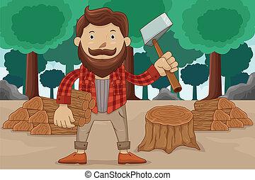 hipster, Cortar, madera