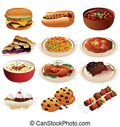 American food icons - A vector illustration of American food...