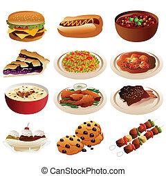 norteamericano, alimento, iconos