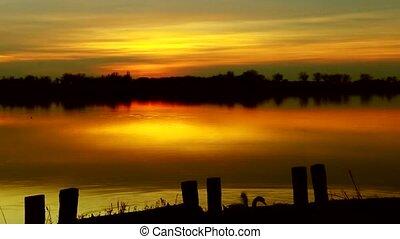 beautiful lake sunrise in serbia