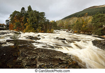 Falls of Dochart, Killin at the west end of Loch Tay,...