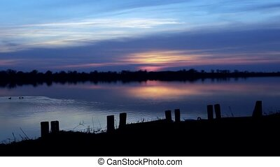 beautiful lake sunrise in Vojvodina