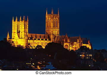 Lincoln Cathedral at Night - Lincoln Cathedral illuminated...