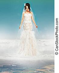 novia, boda, blanco, Vestido, posición, nube, Mirar,...