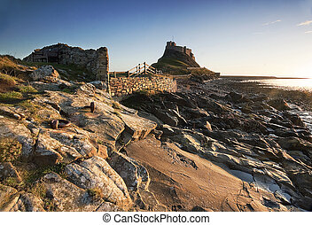 Lindisfarne castle on holy island - Sunrise at lindisfarne...