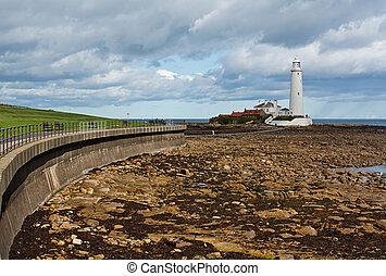 st marys lighthouse on the North East Coast - Flood defences...
