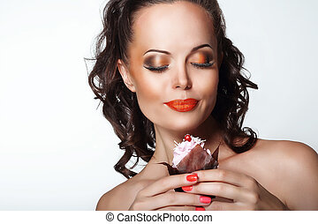 Gourmet. Woman Holding Unhealthy Food - Appetizing Chocolate...