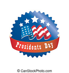 presidents day - a red and blue round icon for presidents...