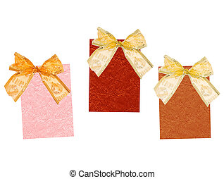 Celebratory labels with bows