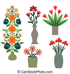 Flower vases with decorative bunches