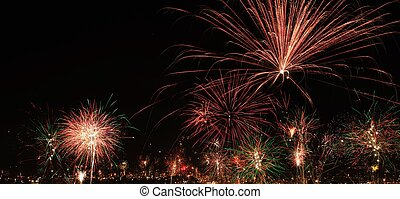 New year's eve fireworks in the city of Arequipa, Peru....