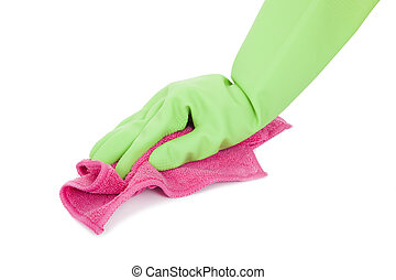 rag for wet cleaning in hand of woman