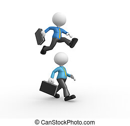 Businessman - 3d people - man, person jumping over someone...