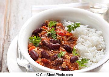 chilli, Zuchthäusler, carne, Reis