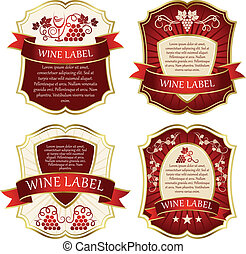 Wine label. Labels with grapes.